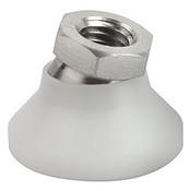 Kipp M6x20 mm Leveling Pads, White POM Pressure Foot & Stainless Steel Ball Element (1/Pkg.), K0395.206