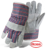 BOSS Economy Cowhide Leather Jointed Palm, Striped Cotton Back & Safety Cuff, Size Large (12 Pairs)