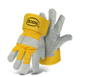 BOSS Heavy Duty Select Split Cowhide Palm, Cotton Back, Yellow, Size Large (12 Pairs)
