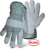 BOSS Split Cowhide Leather Palm Gloves w/ Rubberized Safety Cuff, Size Large (12 Pairs)