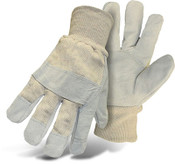 Split Leather Palm Safety Gloves, Knit Wrist, Size Large (12 Pairs)