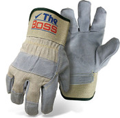 The BOSS Quality Split Cowhide Leather Palm & Back Glove, Size Large (12 Pairs)