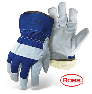 BOSS Heavy Duty Leather Palm Safety Gloves, Blue