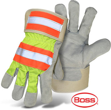 BOSS High Visibility Leather Palm Gloves