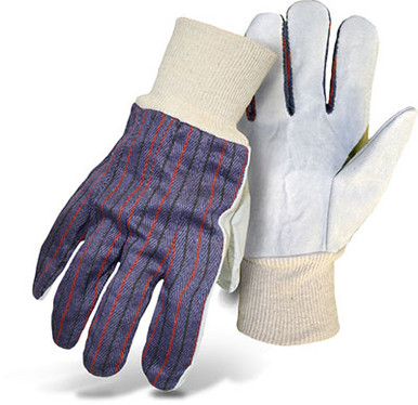 BOSS Full Canvas Back Leather Palm Safety Gloves
