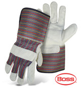 BOSS Leather Palm Gloves, Gauntlet Cuff, Economy Grade