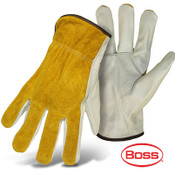 BOSS Grain Cowhide Leather Palm Glove, Split Leather Back, Size Large (12 Pairs)