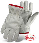 BOSS Unlined Grain Cowhide Leather Driver Glove, Keystone Thumb, Size Small (12 Pairs)
