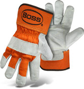 BOSS Double Leather Palm Safety Gloves, Orange