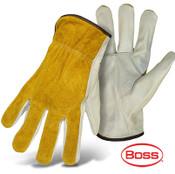 BOSS Grain Leather Palm Safety Gloves w/ Split Leather Back