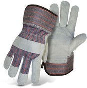BOSS Leather Palm Safety Gloves w/ Rubberized Cuff