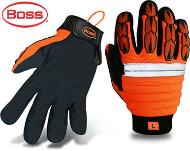 BOSS High Visibility Synthetic Leather Palm Safety Gloves