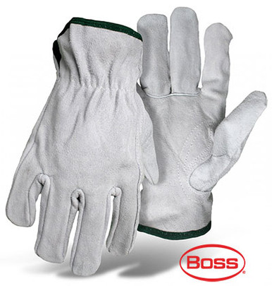 BOSS Gray Leather Driver Safety Gloves