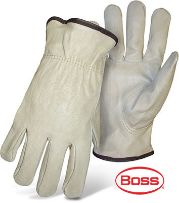 BOSS Grain Leather Driver Safety Gloves, Thermal Lined