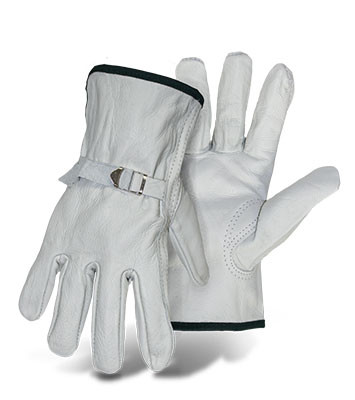 BOSS Grain Cowhide Leather Driver Gloves, White