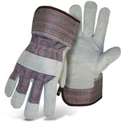 BOSS Leather Palm Gloves, Rubberized Cuff