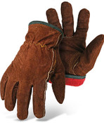 BOSS Flannel Lined Leather Driver Gloves - Brown