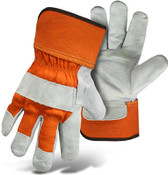 BOSS Orange Gauntlet Cuff Leather Palm Gloves, No Logo