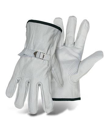 BOSS White Grain Leather Driver Glove