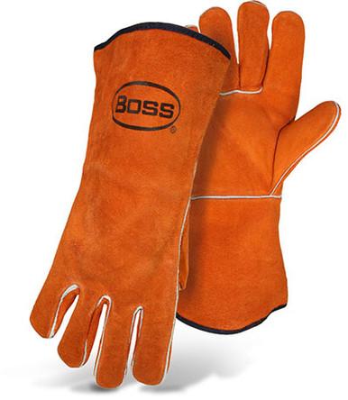 BOSS Cowhide Welder Gloves, Russet