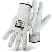 BOSS Leather Palm Cut Resist Knit Gloves, HPPE Fiber Blend, Cut Level 4, Size Medium (12 Pair)