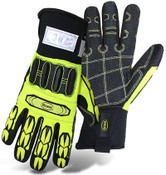 BOSS Hi-Visibility Slip-On Mechanics Style Cut Resistant Gloves w/ PVC Impact Protection, Size Large (12 Pair)