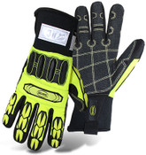 BOSS Insulated Hi-Visibility Slip-On Mechanics Style Cut Resistant Gloves w/ PVC Impact Protection, Size Large (12 Pair)