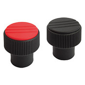 "Kipp 1/4""-20 Novo-Grip Knurled Knobs, Internal Thread, Stainless Steel, Size 1, Red (10/Pkg.), K0247.01A26"