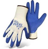 BOSS FLEXI Grip String Knit Gloves w/ Blue Latex Coated Palm, Crinkle Grip, Size Medium (12 Pair)