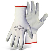 BOSS Assembly Grip White Nylon Knit Gloves w/ Absorbent Foam Nitrile Coated Palm, Size Medium (12 Pair)