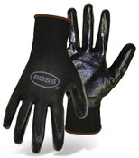 BOSS Assembly Grip Nylon Knit Gloves w/ Nitrile Coated  Palm, Size: 8 (12 Pair)