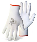BOSS Lightweight Nylon Gloves w/ PU Coated Palm & Fingers, White, Size Large (12 Pair)