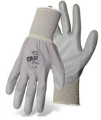 BOSS Lightweight Nylon Gloves w/ PU Coated Palm & Fingers, Gray, Size 8 (12 Pair)