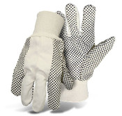 BOSS 10 Oz. Poly/Cotton Blend Canvas Gloves w/ Black PVC Dotted Palm, One Size (12 Pair)