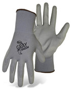 BOSS Lightweight Nylon Gloves w/ PU Coated Palm & Fingers, Gray, Size X-Small (12 Pair)
