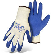 BOSS FLEXI Grip String Knit Gloves w/ Blue Latex Coated Palm, Crinkle Grip, Size Small (12 Pair)