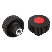 Kipp M5 x 40 mm (D) Novo-Grip Knurled Wheel, Internal Thread, Steel, Size 1, Style K, Red (10/Pkg.), K0260.21056