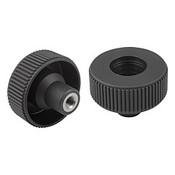 Kipp #10-32 x 40 mm (D) Novo-Grip Knurled Wheel, Internal Thread, Stainless Steel, Size 1, Style D, No Cap (10/Pkg.), K0261.11A1