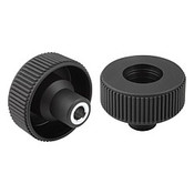 "Kipp .375"" (ID) x 63 mm (D) Novo-Grip Knurled Wheel with Bushing, Steel, Size 3, Style E, No Cap (10/Pkg.), K0260.33CO"