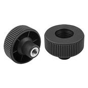 "Kipp 3/8""-16 x 63 mm (D) Novo-Grip Knurled Wheel, Internal Thread, Steel, Size 3, Style D, No Cap (10/Pkg.), K0260.13A4"