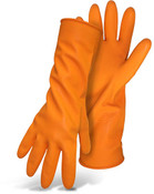 "BOSS 13"" 28 Mil Orange Latex Gloves, Flock Lining, Size Large (12 Pair)"