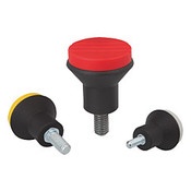 "Kipp 1/4""-20 (ID) x 30 mm (L) x 25 mm (D) Novo-Grip Mushroom Knobs, Steel Bolt, External Thread, Size 2, Red (10/Pkg.), K0251.A26X30"