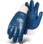 Economy Dipped Nitrile Fully Coated Smooth Grip Gloves, Knit Wrist, Size Large (12 Pair)
