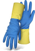 "BOSS 13"" 21 Mil Blue Neoprene & Yellow Latex Blend Gloves, Flock Lined, Size: 7 (12 Pair)"