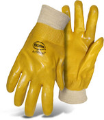 BOSS Yellow PVC Smooth Grip Jersey Lined Gloves, Knit Wrist, Large (12 Pair)