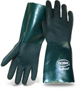 "BOSS 14"" Economy Double Dipped Green PVC Lined Gloves, Size Large (12 Pair)"