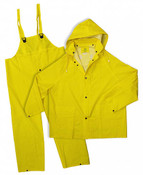 Yellow 35mm PVC Poly Lined 3-Piece Rain Suit, Size: X-Large (5 Suits/Pkg.)