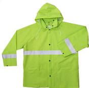 High-Visibility Green 35mm PVC Poly Lined Rain Jacket w/ Reflective Trim, Size: XL (5 Jackets/Pkg.)