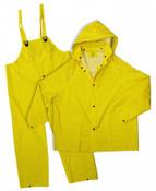 Yellow 35mm PVC Poly Lined 3-Piece Rain Suit, Size: 5XL (3 Suits/Pkg.)