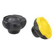 Kipp M12 (ID) x 50 mm (D) Novo-Grip Five Lobe Grips, Steel Bushing, Internal Thread, Yellow (10/Pkg.), K0255.50127